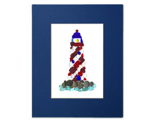 Sea Glass Striped Lighthouse - Seaglass Art Mosaic Matted Print