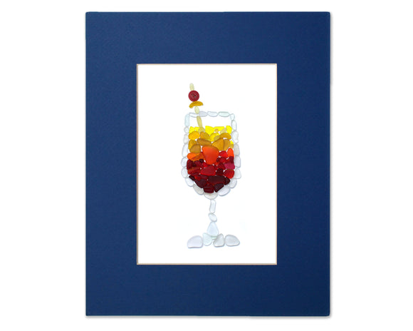 Sea Glass Tequila Sunrise - Seaglass Art Mosaic Cocktail Matted Print