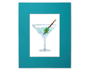 Sea Glass Martini - Seaglass Art Mosaic Cocktail Matted Print
