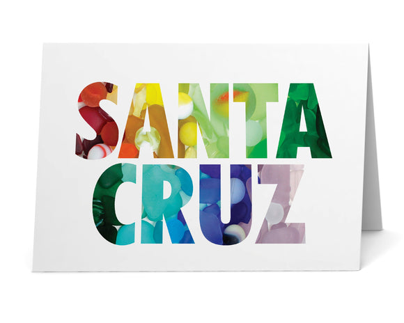Sea Glass Rainbow Santa Cruz Card