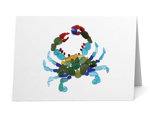 Sea Glass Blue Crab Card