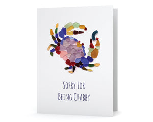 "Sea Glass Dungeness Crab ""Sorry for Being Crabby"" Card"