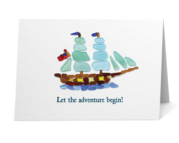 "Sea Glass Flagship ""Let the Adventure Begin!"" Card"