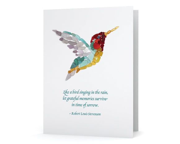 Sea Glass Hummingbird Sympathy Card with poem by Robert Louis Stevenson