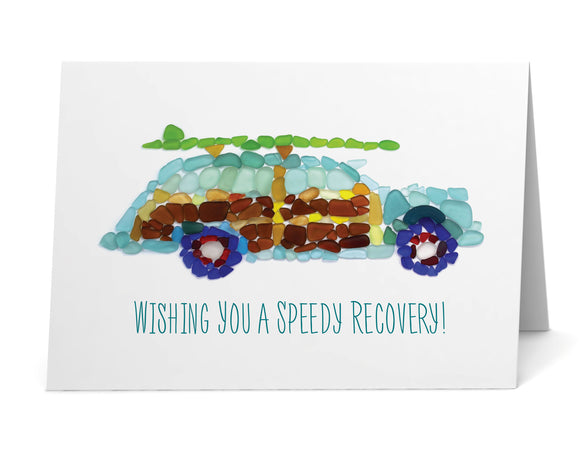 "Sea Glass Woody Car ""Wishing you a speedy recovery!"" Get Well Card"