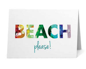 "Sea Glass Rainbow ""Beach, please!"" Card"