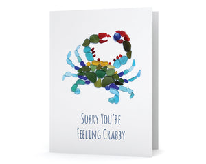 "Sea Glass Blue Crab ""Sorry you're feeling crabby!"" Get Well Card"