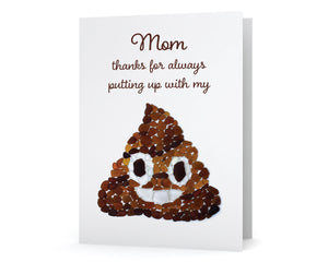 "Sea Glass ""Mom, Thanks for Always Putting Up with My..."" Poop Emoji Card"