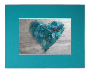 Teal Sea Glass Heart Wave - Seaglass Art Mosaic Matted Print