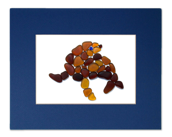 Sea Glass Sea Lion - Seaglass Art Mosaic Matted Print