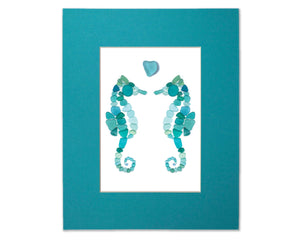 Sea Glass Seahorses and Heart - Seaglass Art Mosaic Matted Print