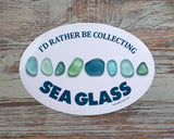 I'd Rather Be Collecting Sea Glass Laptop or Bumper Sticker - Turquoise