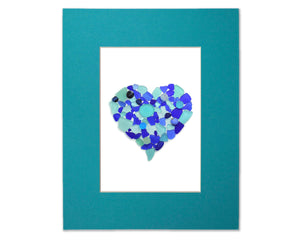 Sea Glass and Sea Marbles Heart - Blue Seaglass Art Mosaic Matted Print