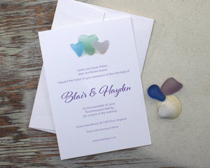 Sea Glass Hearts Wedding Invitation Suite Design