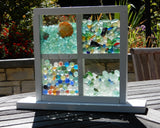 Wanderer Stand Up Bling Beach Glass Display with Dividers - White or Wood
