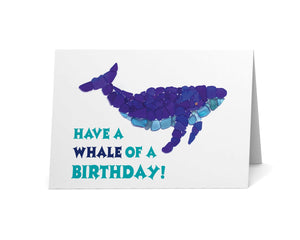 "Sea Glass Whale ""Have a Whale of a Birthday"" Card"