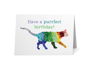 "Sea Glass Rainbow Cat ""Have a Purrfect Birthday!"" Card"