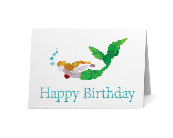Sea Glass Mermaid Happy Birthday Card