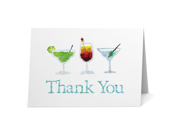 Sea Glass Cocktails Thank You Card