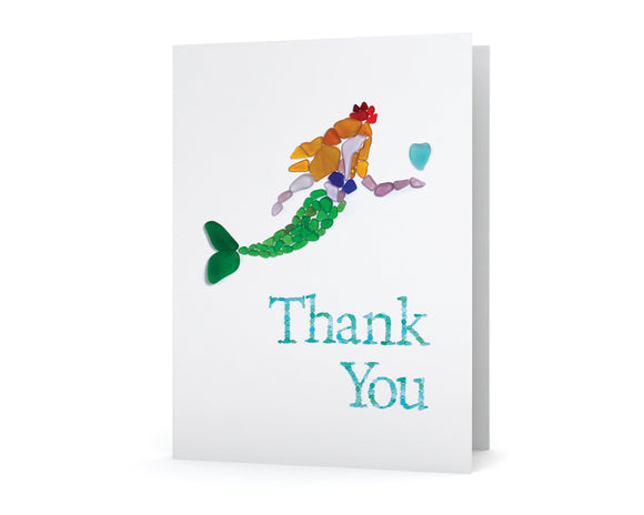 Sea Glass Mermaid Princess Thank You Card