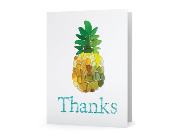 Sea Glass Pineapple Thanks Card