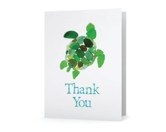 Sea Glass Turtle Thank You Card