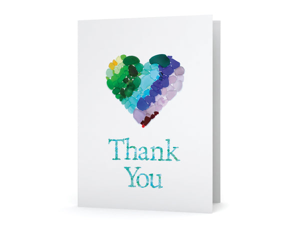Sea Glass Heart Thank You Card