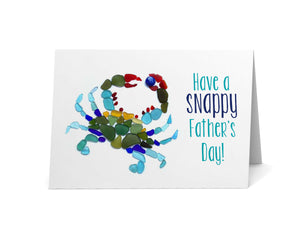 "Sea Glass Blue Crab ""Have a Snappy Father's Day"" Card"