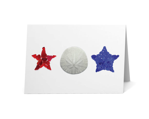 Sea Glass and Sand Dollar Red, White, and Blue Stars Card