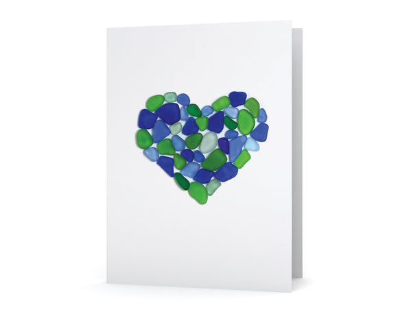 Blue and Green Sea Glass Heart Card