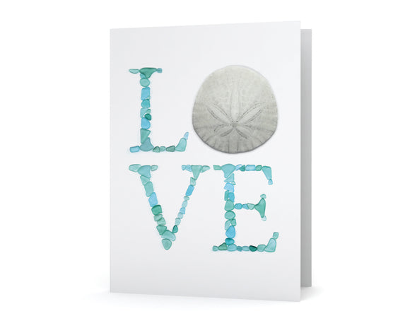 Sea Glass and Sand Dollar LOVE Card