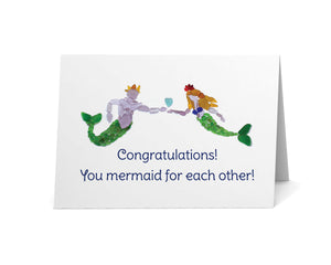 "Sea Glass Mermaid & Merman ""Congratulations! You Mermaid for Each Other!"" Card"