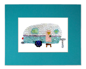 Sea Glass Camper Van - Seaglass Art Mosaic Vintage Caravan Trailer Matted Print