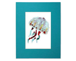 Sea Glass Jellyfish - Seaglass Art Mosaic Matted Print