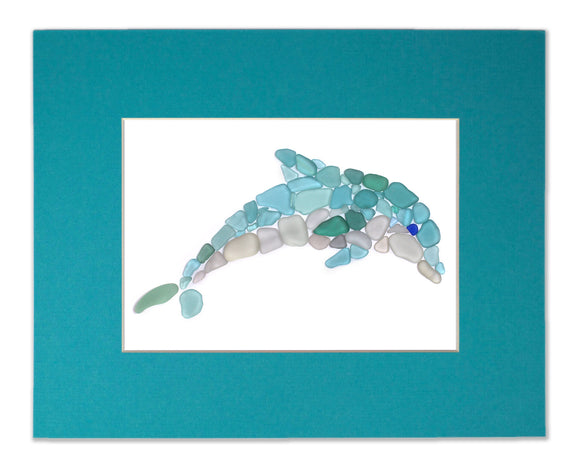 Sea Glass Dolphin - Seaglass Art Mosaic Porpoise Matted Print