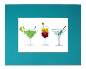Sea Glass Cocktails - Seaglass Art Mosaic Matted Print - Margarita, Tequila Sunrise, Martini