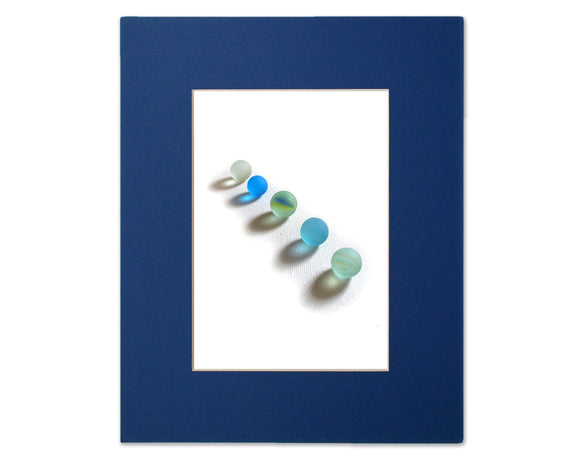 Sea Glass Marbles on Canvas - Seaglass Art Mosaic Matted Print