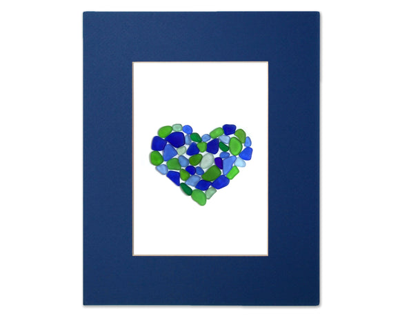 Blue and Green Sea Glass Heart - Seaglass Art Mosaic Matted Print