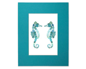 Sea Glass Seahorses - Seaglass Art Mosaic Matted Print