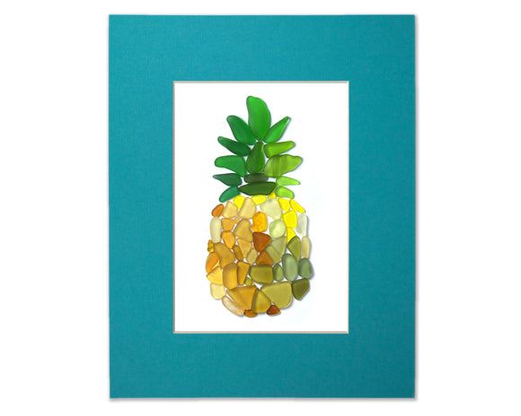 Sea Glass Pineapple - Seaglass Art Mosaic Matted Print