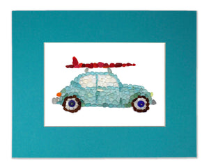 Sea Glass Classic Surfer Car Matted Print