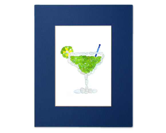 Sea Glass Margarita - Seaglass Art Mosaic Cocktail Matted Print