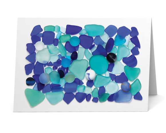 Blue Sea Glass Card