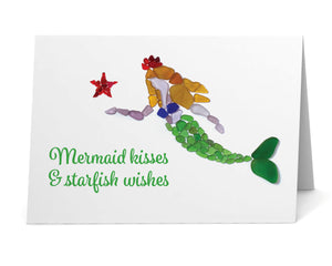 "Sea Glass ""Mermaid kisses & starfish wishes"" Card"