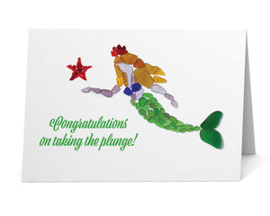 "Sea Glass Mermaid Princess ""Congratulations on taking the plunge!"" Card"