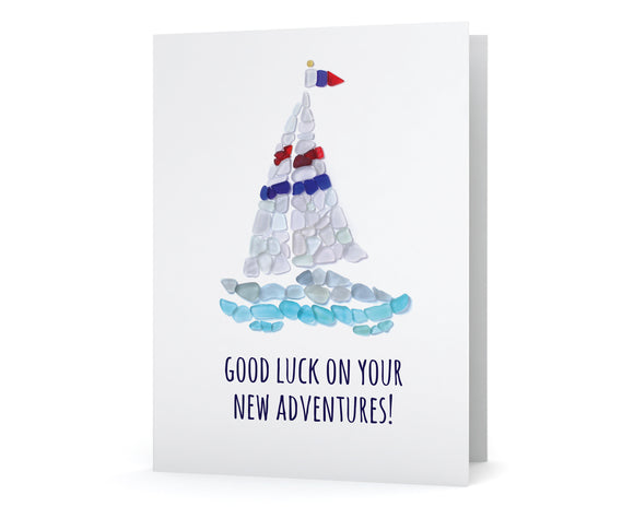 "Sea Glass Sailboat ""Good Luck on Your New Adventures"" Card"