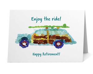 "Sea Glass Woody Car ""Enjoy the Ride! Happy Retirement"" Card"