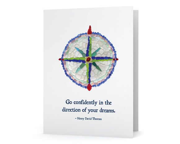 "Sea Glass Compass ""Go confidently in the direction of your dreams - Henry David Thoreau"" Card"