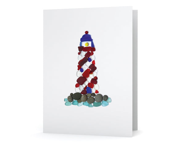 Sea Glass Striped Lighthouse Card