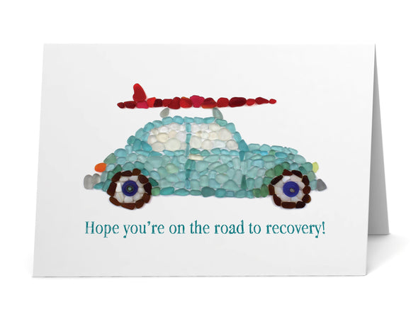 "Sea Glass Surfer Car ""Hope you're on the road to recovery!"" Get Well Card"